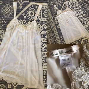 Vintage Linea Donatella Sheer Negligee Lace Pearls